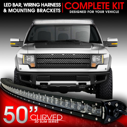 LED Light Bar Curved 288W 50 Inches cket Wiring Harness Kit for Ford on