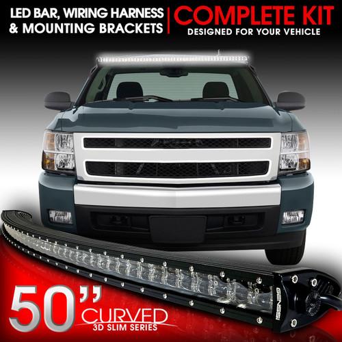 Led Light Bar Curved 288w 50 Inches Bracket Wiring Harness Kit For Gmc Sierra Chevy Silverado Trucks 2007 2013