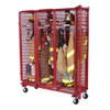 Red Rack Mobile 3-Section Single-Sided Turnout Gear Locker w/ Security Package - 24 in. Compartments