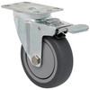 Durable Superior 4 in.  x 1 1/4 in.  Light-Medium Duty Swivel Caster w/Total Lock Brake, Gray Thermo-Pro™ Rubber , Plate Mount
