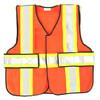 343 Fire V12-E Economy High Contrast FR 5-Point Break-Away Vests, Orange w/Yellow & Silver Striping