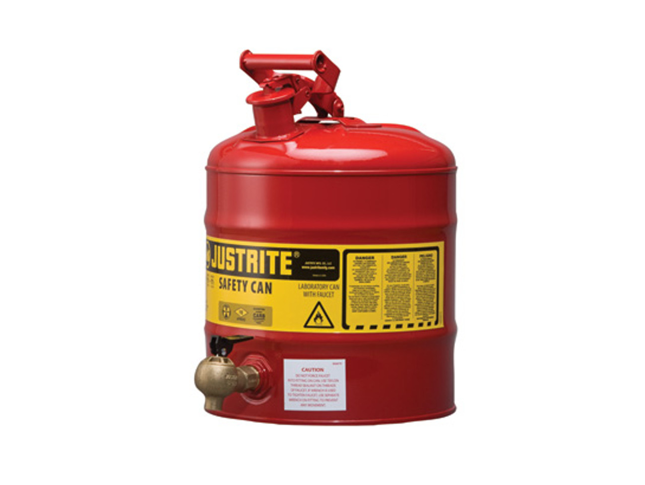 Safety Gas Can >> Justrite Laboratory 5 Gal Steel Safety Shelf Gas Can W 08540 Faucet Red