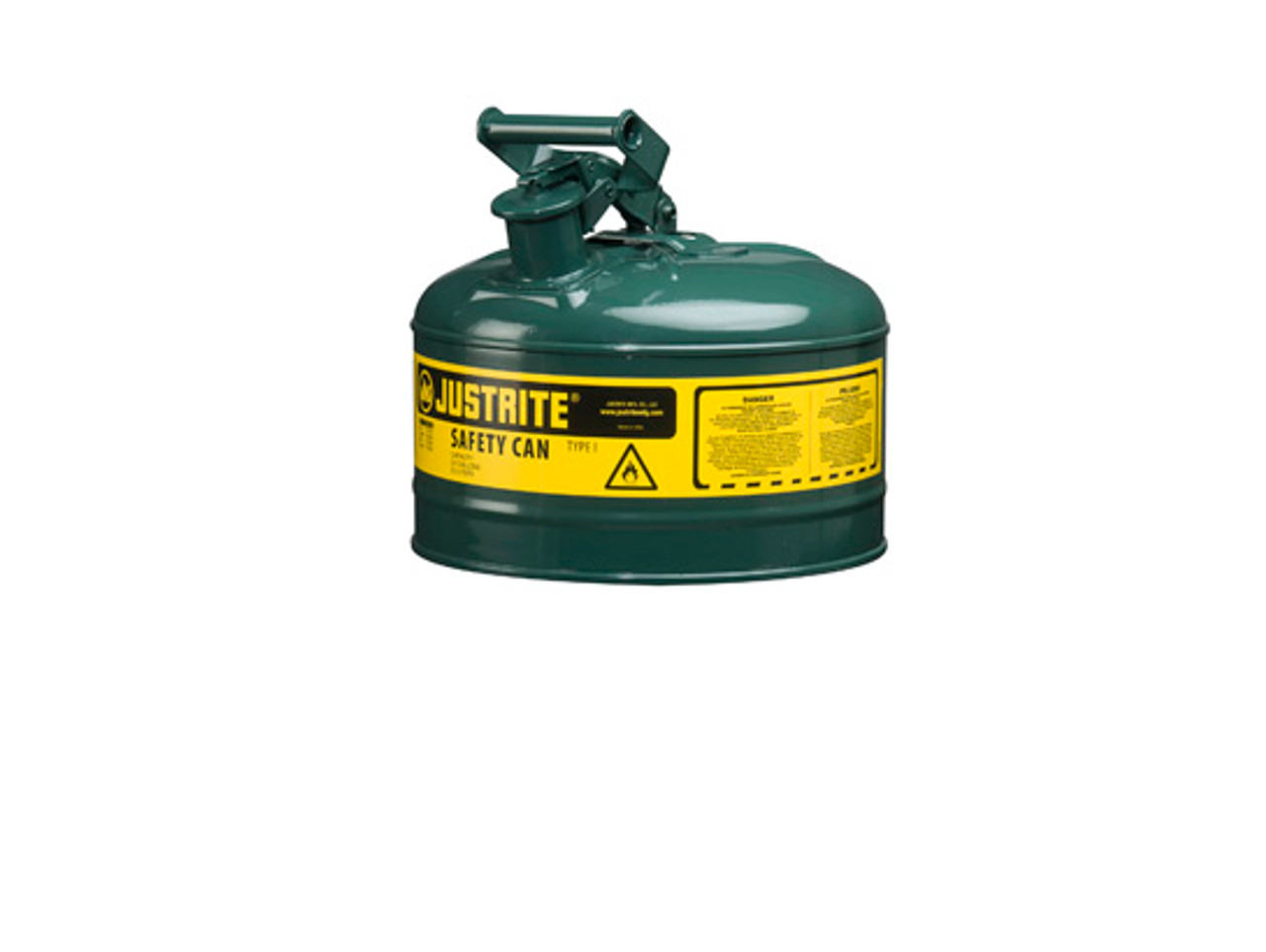 Safety Gas Can >> Justrite Type I 2 5 Gal Safety Gas Can Green
