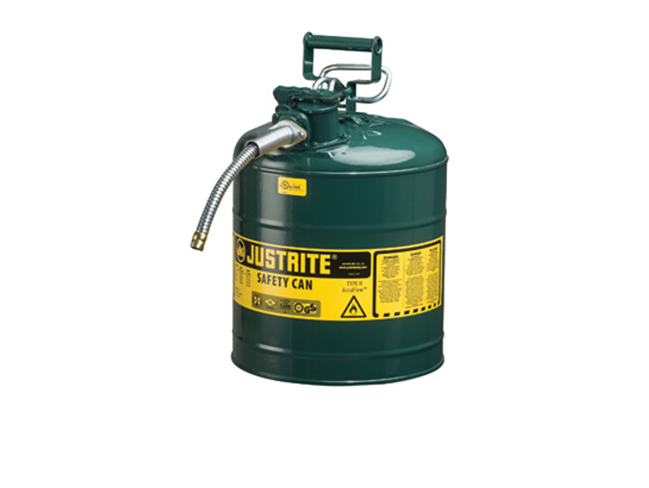 Safety Gas Can >> Justrite 7250430 Type Ii Accuflow 5 Gal Safety Gas Can W 1 In Spout Green