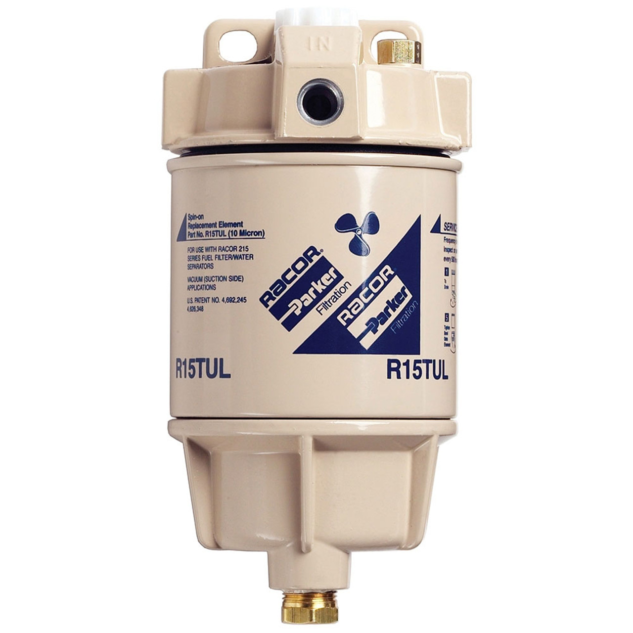 racor 1/4 in  15 gph aquabloc marine spin-on type diesel fuel filter water  separator assembly - 6 qty - john m  ellsworth co  inc