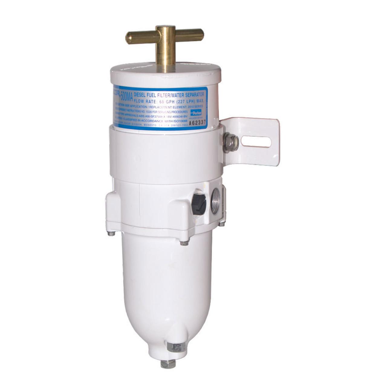 Racor 500MA Marine Turbine Series 60 GPH Fuel Filters w/ Full Metal Bowl -  10 Micron - 6 Qty