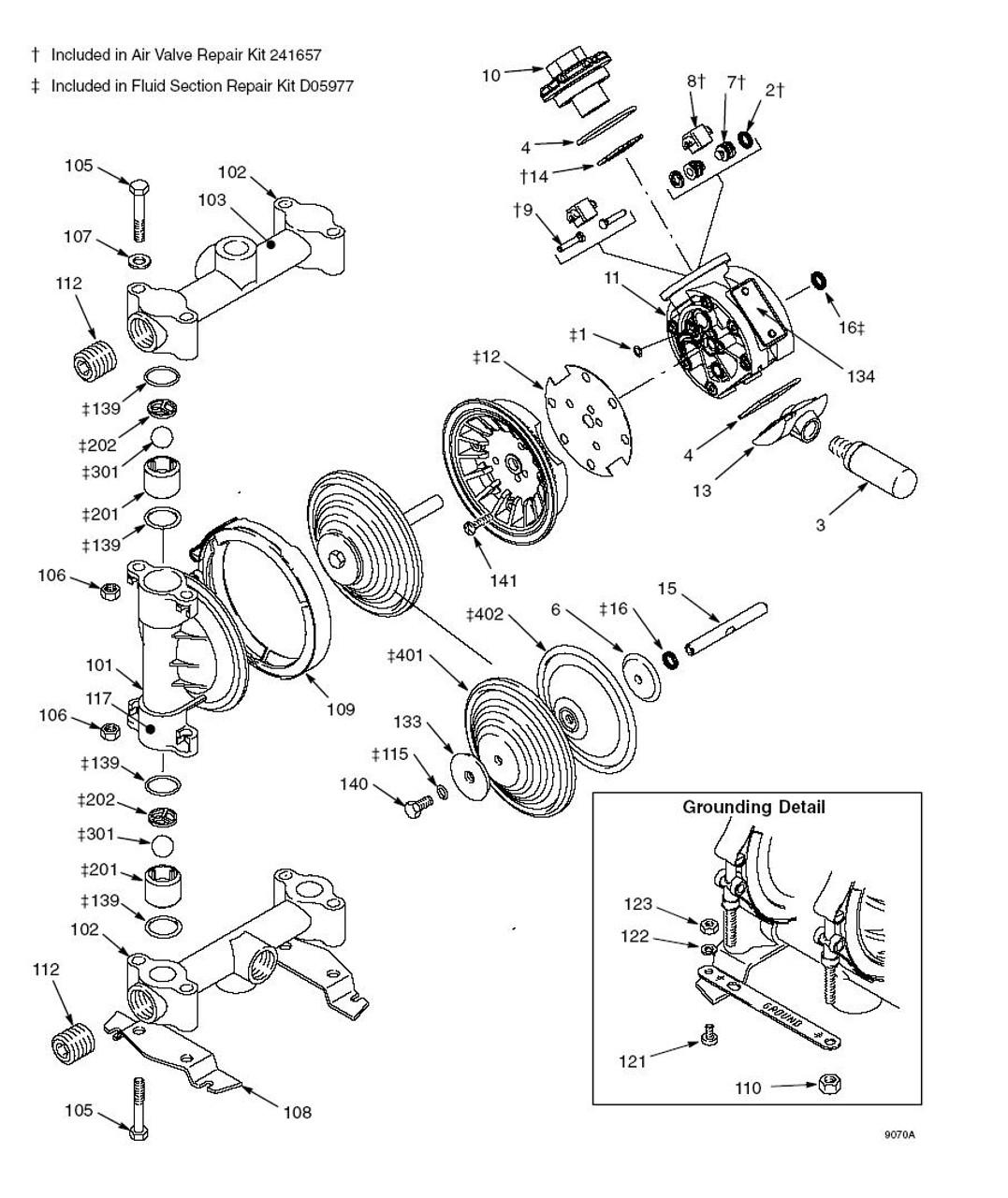 Air Motor Rebuild Kit for Graco Husky 515 & 716 Diaphragm