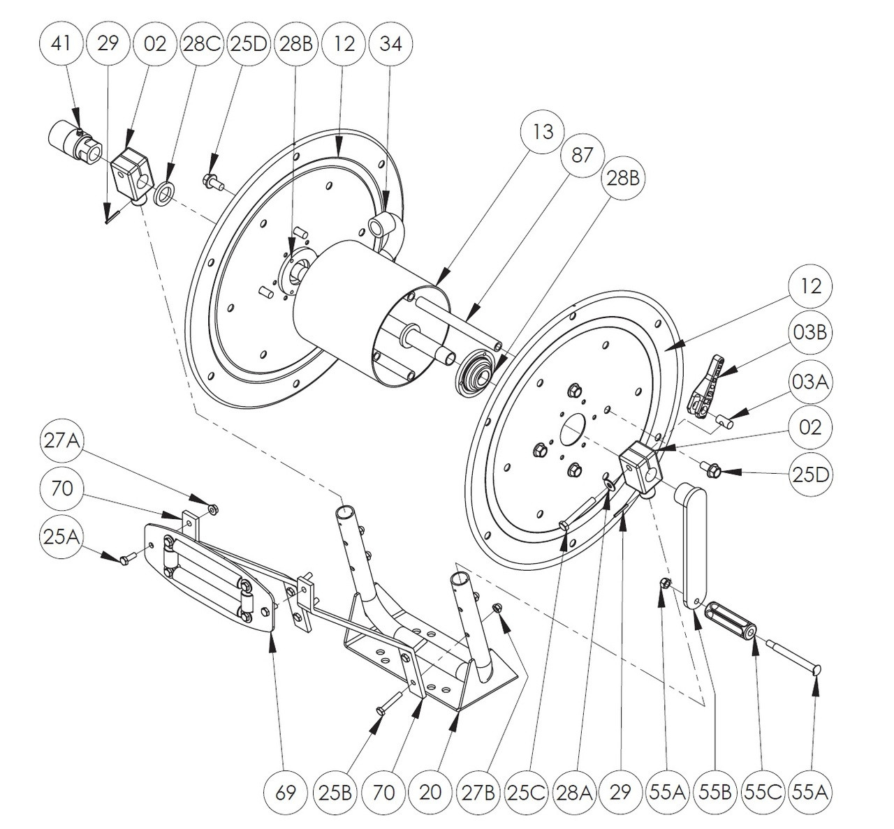 pw series pressure washer hose reel parts roller assy 69 john  pw series pressure washer hose reel parts roller assy 69 john m ellsworth co inc