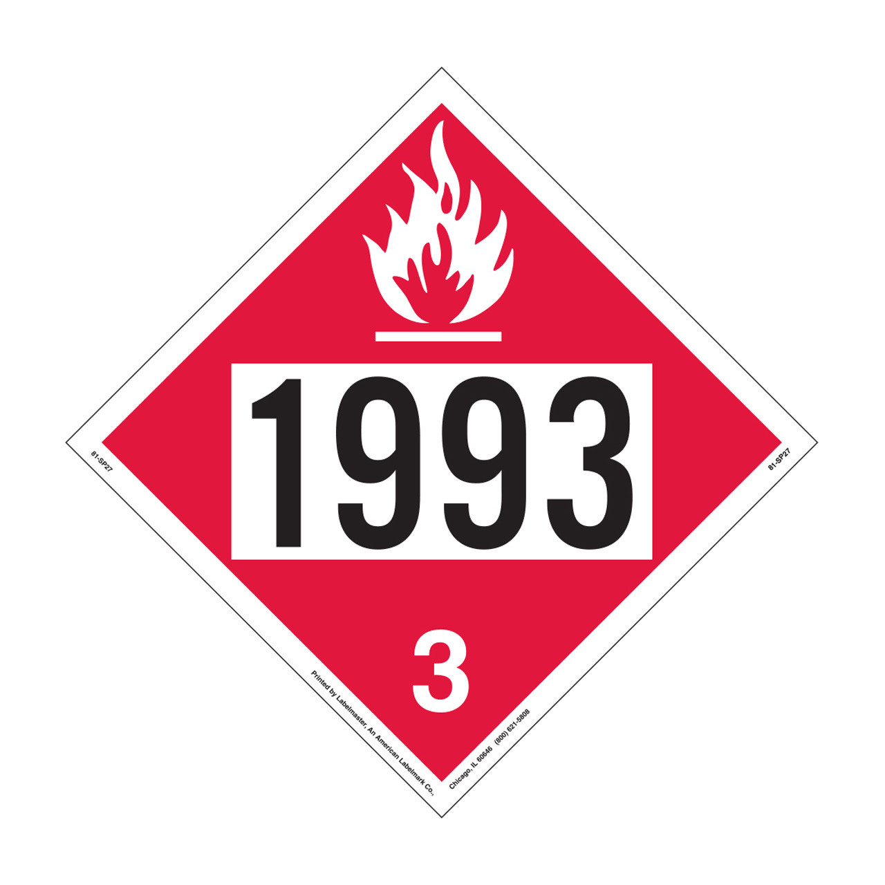 Labelmaster 1993 Flammable Aluminum Diesel Placard