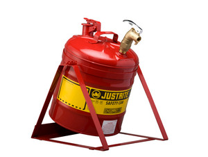 Justrite Laboratory 5 Gal Steel Safety Tilt Gas Can w/ 08902 Faucet (Red)