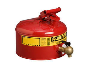 Justrite Laboratory 2.5 Gal Steel Safety Shelf Gas Can w/ 08540 Faucet (Red)