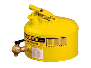 Justrite Laboratory 2.5 Gal Steel Safety Shelf Gas Can w/ 08540 Faucet (Yellow)