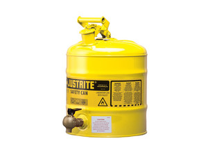 Justrite Laboratory 5 Gal Steel Safety Shelf Gas Can w/ 08540 Faucet (Yellow)
