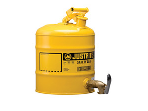 Justrite Laboratory 5 Gal Steel Safety Shelf Gas Can w/ 08902 Faucet (Yellow)