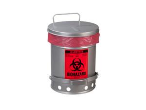 Justrite Biohazard 6 Gal SoundGard Can (Silver)