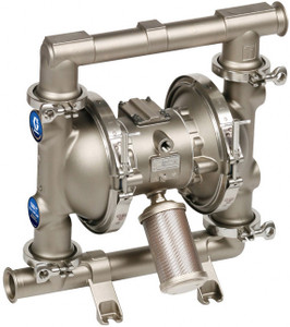 Graco 1590 FDA-Compliant 2 in. Double Diaphragm Sanitary Pumps w/ PTFE O-Rings, Weighted Neoprene Balls, Santo Dia.