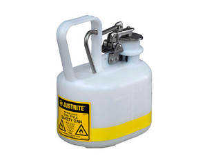 Justrite Nonmetallic Type I Cans for Flammables - Oval Safety Can - .5 Gallon - White