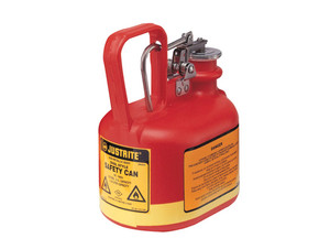 Justrite Nonmetallic Type I Cans for Flammables - Oval Safety Can - .5 Gallon - Red