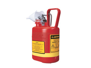 Justrite Nonmetallic Type I Cans for Flammables - Oval Safety Can - 1 Gallon - Red