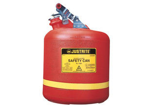 Justrite Nonmetallic Type I Cans for Flammables - Round Safety Can - 5 Gallon - Red