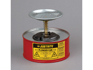 Justrite Plunger Cans - 1 Quart - Red - 5 in.