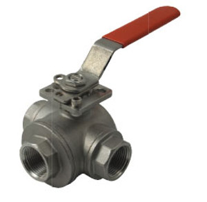 Dixon Sanitary 3-way Industrial Stainless Steel Ball Valve - L Port - 1 in.