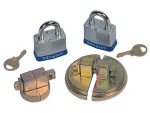 Justrite Drum Locks - Steel Drum Set With 2 Padlocks - Steel drum set with 2 padlocks - 1 unit to fit 3/4 in. NPT bung-2 interchangable lock bars