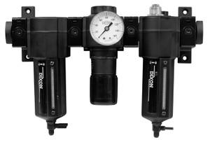 Dixon Norgren Series 1 Standard Combination Unit w/Metal Bowl & Sight Glass 3/8 in. Port Size, Automatic Drain 110 SCFM