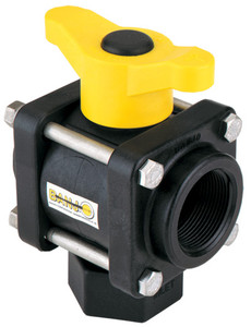 Banjo 1 1/4 in. 3-Way Bottom Load Poly Ball Valve