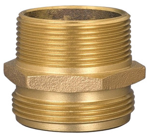 Dixon 1 1/2 in. NPT x 1 1/2 in. NYFD Brass Double Male Hex Nipple(Special City Threads)