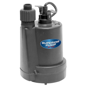 Decko Superior 91250 1/4 HP Thermoplastic Submersible Utility Sump Pump - 30 GPM