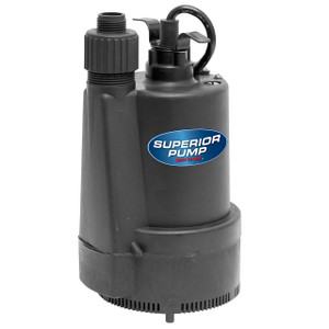 Decko Superior 91330 1/3 HP Thermoplastic Submersible Utility Sump Pump w/ 1 1/4 in. Discharge - 40 GPM