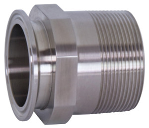 Dixon Sanitary 21MP Series 316L Stainless 3 in. Clamp x Male NPT Adapters - 3 in. - 1 in.