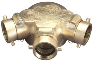 Dixon 2 1/2 in. NH (NST) x 6 in. NPT Standpipe Triple Clapper Siamese Connections Back Outlet