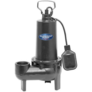 Decko Superior 93501 1/2 HP Cast Iron Sewage Sump Pump w/ Tethered Float Switch - 80 GPM