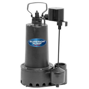 Decko Superior 92307 1/3 HP Cast Iron Effluent Sump Pump w/ Vertical Float Switch - 60 GPM