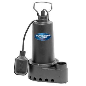Decko Superior 92505 1/2 HP Cast Iron Effluent Sump Pump w/ Tethered Float Switch - 70 GPM