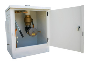 Morrison Bros. 715 Series 10 Gal Powder Coated Steel AST Remote Fill Box & 3 in. Male Quick Disconnect w/Cap