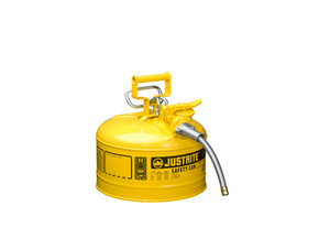 Justrite Type II AccuFlow 2 Gal Safety Gas Can w/ 5/8 in. Spout (Yellow)