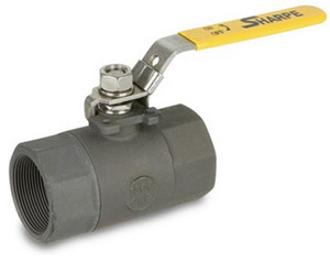 Sharpe Carbon Steel 2000 WOG Standard Port Locking 2-Piece Body Ball Valve - Threaded - 1 1/4 in.