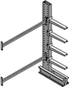 MECO Medium Duty Cantilever Rack Single Sided Add-on Units, 8 ft. H w/(4) 24 in. L Arms- 4