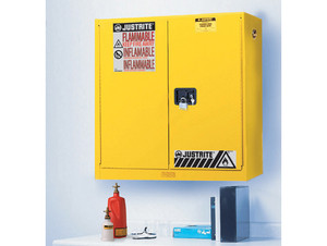 Justrite Sure-Grip Ex 20 Gallon Wall Mount Safety Cabinet - Manual Close