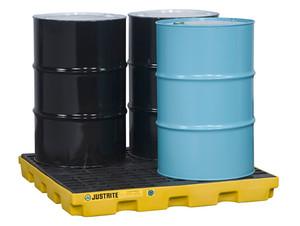 Justrite EcoPolyBlend Accumulation Center 4 Drum - Yellow