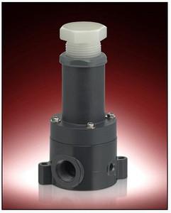 Plast-O-Matic Series RVDT & RVDTM 1/4 in. PVC Relief Valves w/ PTFE Viton Seals