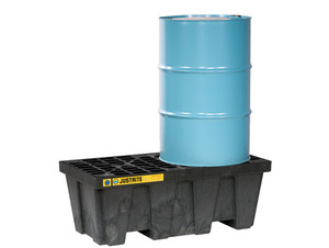 Justrite EcoPolyBlend In-Line Spill Control Pallet 2 Drum with Drain - Black