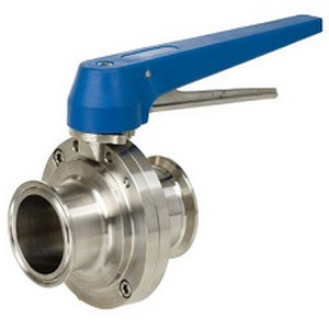 Sharpe 77 Series 1 1/2 in. Sanitary Butterfly Valve w/EPDM Seals & SS Disc, Clamp End