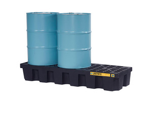 Justrite EcoPolyBlend In-Line Spill Control Pallet 3 Drum with Drain - Black