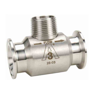 GPI G Series 1 1/2 in. Stainless Steel Meter w/Sanitary Clamp Fitting - 17.7 to 177 GPM, 18 Mesh