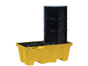 Justrite EcoPolyBlend In-Line Spill Control Pallet 2 Drum with Drain - Yellow