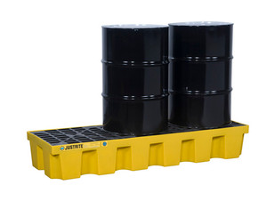 Justrite EcoPolyBlend In-Line Spill Control Pallet 3 Drum with Drain - Yellow
